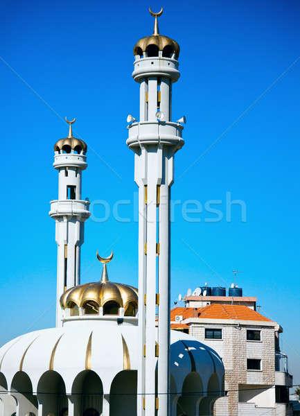 Cami Lübnan gökyüzü mavi seyahat din Stok fotoğraf © benkrut