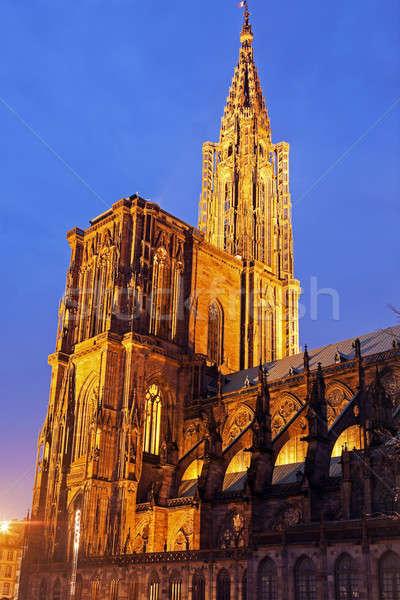 Strasbourg Minster at sunset Stock photo © benkrut