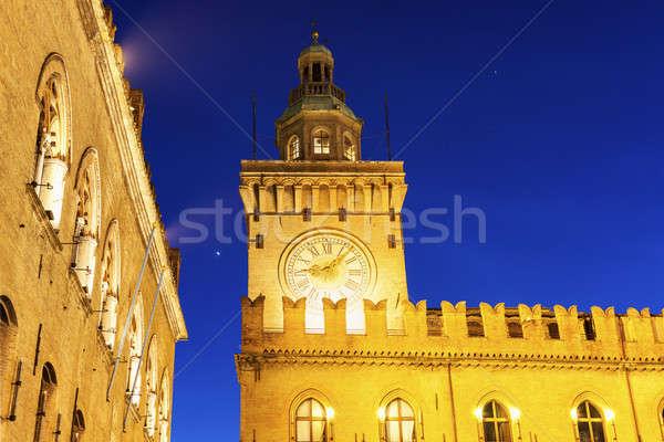 Clock Tower on  Piazza Maggiore in Bologna Stock photo © benkrut