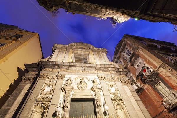 Church in Naples at sunrise Stock photo © benkrut