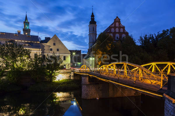 Old town of Opole across Oder River Stock photo © benkrut