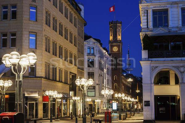 Edad oficina de correos hamburgo Alemania calle azul Foto stock © benkrut