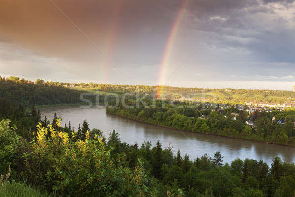 Rainbow over North Saskatchewan River Stock photo © benkrut
