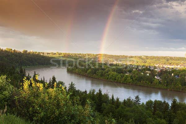 Arco iris norte saskatchewan río edificio calle Foto stock © benkrut
