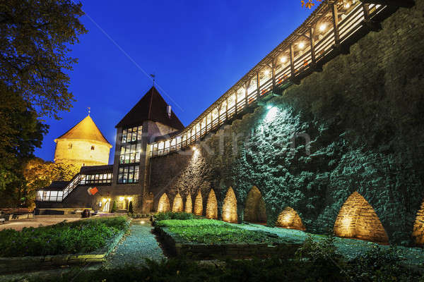 Tallinn stad muren nacht Estland gebouw Stockfoto © benkrut