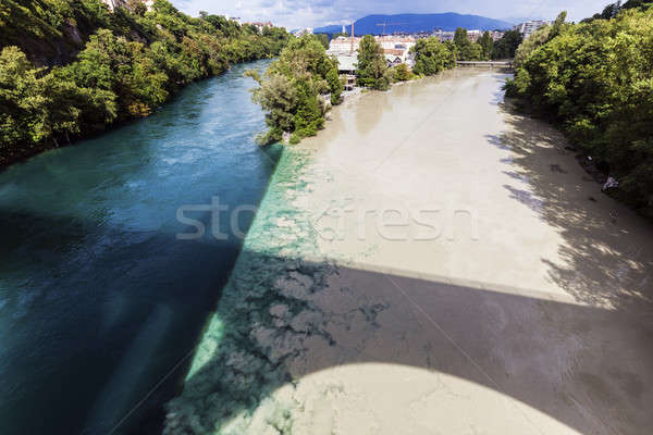Confluence of the Rhone and Arve Rivers in Geneva Stock photo © benkrut