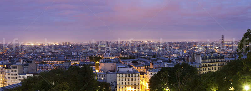 Paris panorama seen from Montmartre at sunrise Stock photo © benkrut