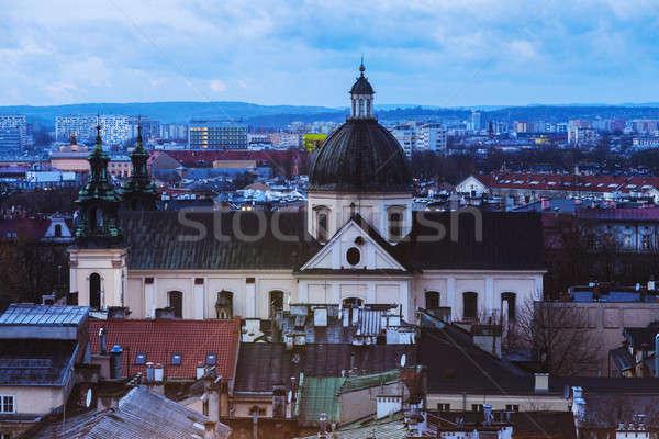 Iglesia cracovia Polonia edificio puesta de sol azul Foto stock © benkrut