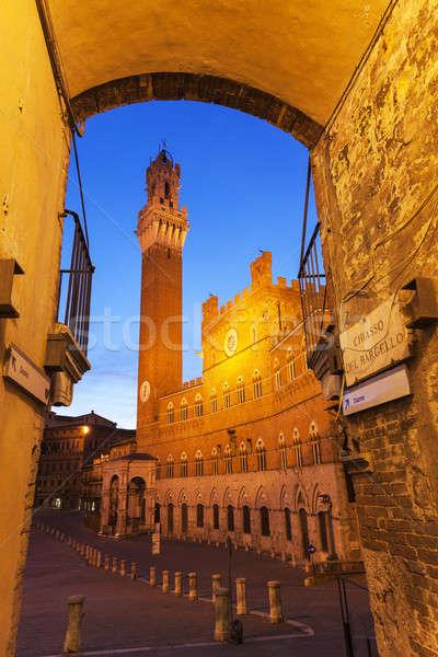 ратуша Восход Тоскана Италия небе улице Сток-фото © benkrut