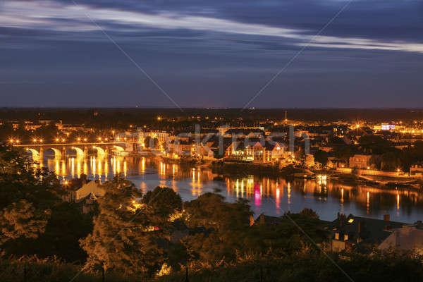 Panorama notte la città ponte blu Foto d'archivio © benkrut