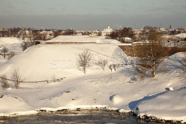 Helsinki mur neige église pierre blanche Photo stock © benkrut