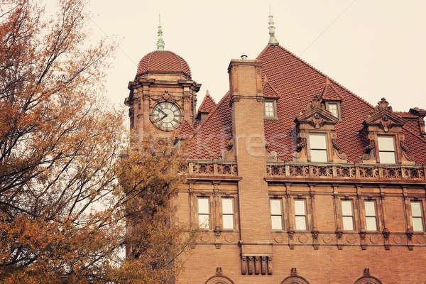 Velho rua principal estação de trem relógio torre Foto stock © benkrut