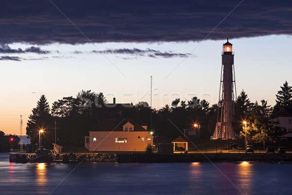 Hajó csatorna világítótorony Wisconsin USA naplemente Stock fotó © benkrut