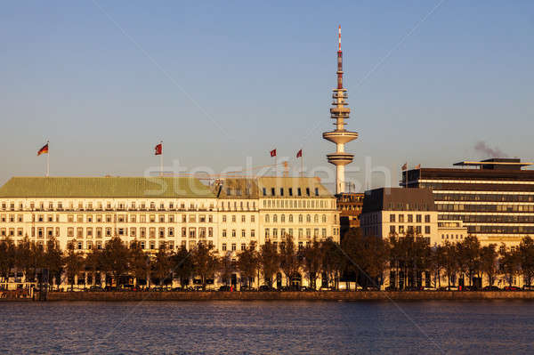 Hamburgo Alemania horizonte lago arquitectura Europa Foto stock © benkrut