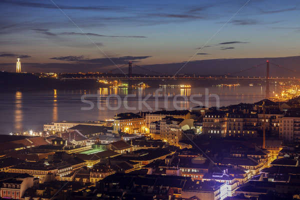25th of April Bridge and Cristo Rei Statue in Lisbon  Stock photo © benkrut