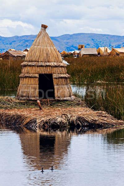Hut on Floating Islands   Stock photo © benkrut