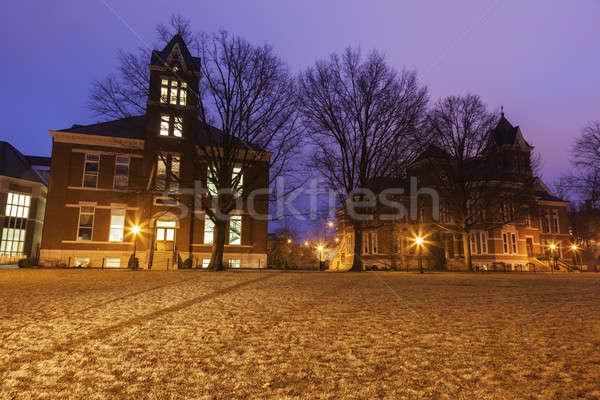 Arquitectura antigua Misuri EUA cielo nieve educación Foto stock © benkrut