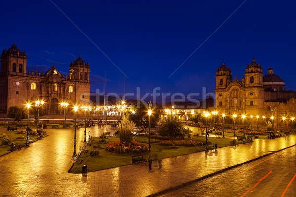Peru stad Blauw nacht architectuur park Stockfoto © benkrut