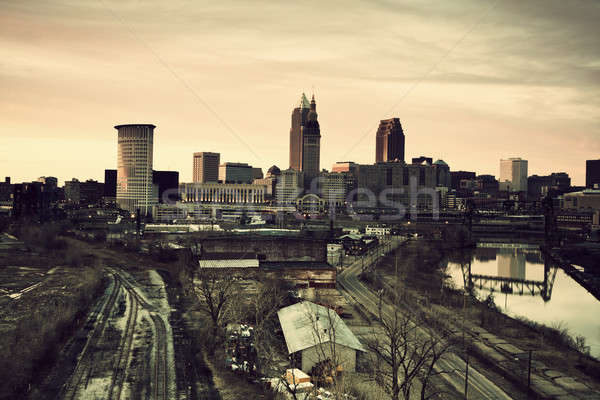Cleveland during sunset Stock photo © benkrut