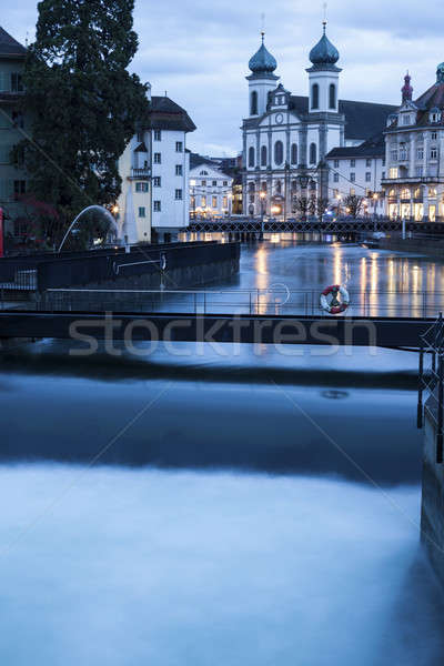 Jesuit Church and Reuss River. Lucerne, Switzerland Stock photo © benkrut