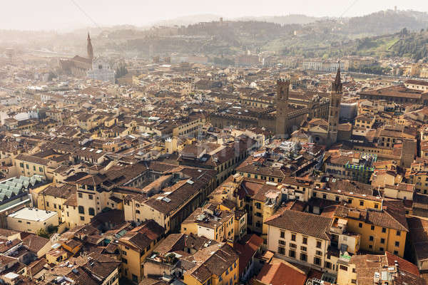 Stockfoto: Florence · luchtfoto · Toscane · gebouw · stad · zonsondergang