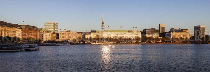Hamburgo panorámica vista edificio horizonte lago Foto stock © benkrut