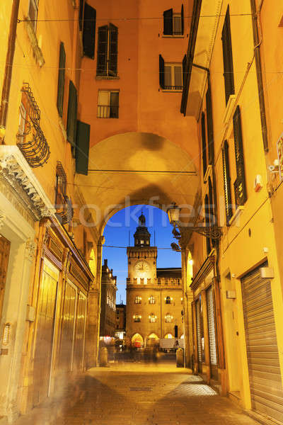 Clock Tower on  Piazza Maggiore in Bologna Stock photo © benkrut