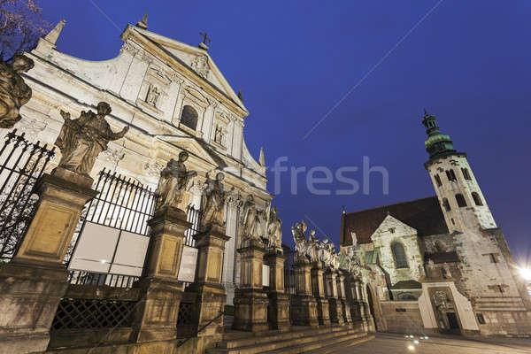 Krakkó templomok templom szent Lengyelország égbolt Stock fotó © benkrut