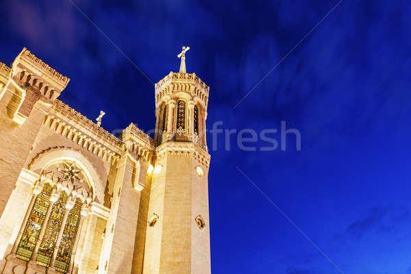 Bazilika Lyon égbolt város éjszaka sziluett Stock fotó © benkrut