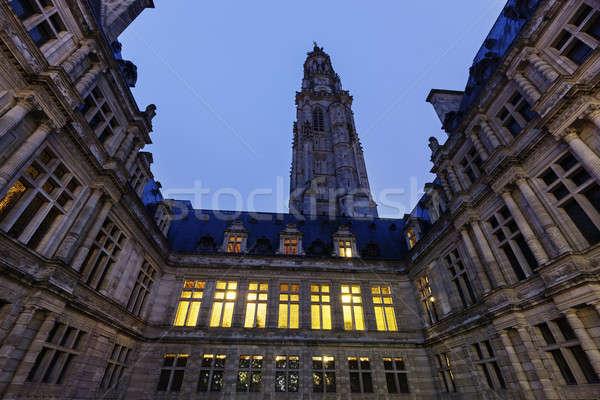 Stadhuis plaats hemel stad kerk nacht Stockfoto © benkrut