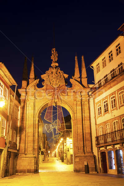 Porta Nova arch in Braga at dawn. Stock photo © benkrut