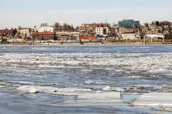Foto stock: Panorama · rio · paisagem · neve · gelo · viajar