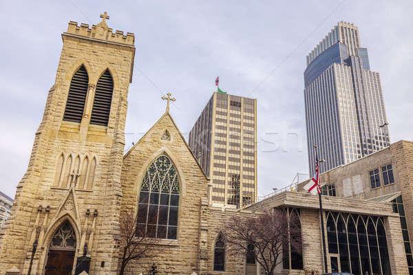 Catedral ciudad calle nieve iglesia invierno Foto stock © benkrut