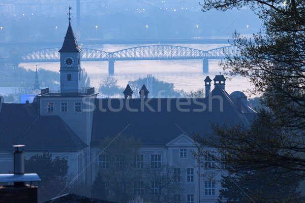 Panorama şafak mavi gündoğumu ufuk çizgisi Avrupa Stok fotoğraf © benkrut