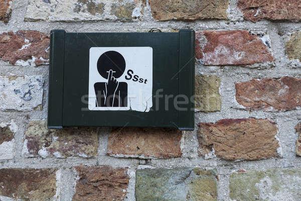 Ruhig Zeichen Ziegel Person Konzept Belgien Stock foto © benkrut