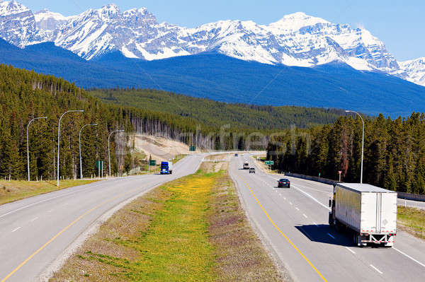 Semi truck on the road in Banff National Park Stock photo © benkrut