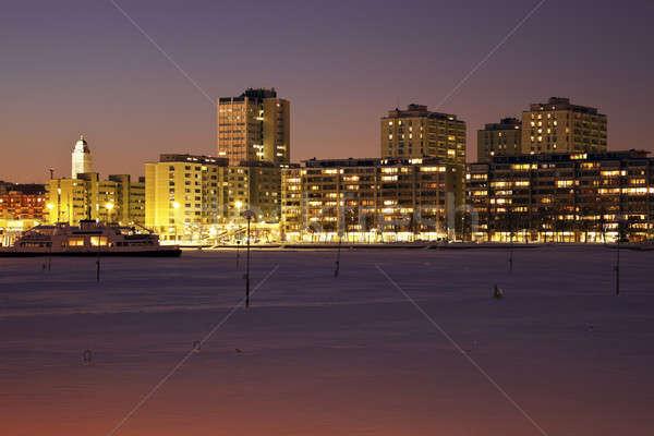 Nuit Helsinki congelés mer baltique coucher du soleil neige Photo stock © benkrut