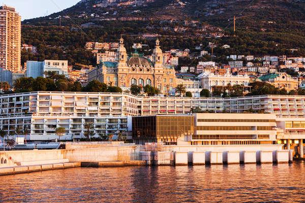 Панорама Монако Восход город путешествия лодка Сток-фото © benkrut