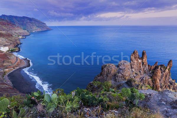 Tenerife panorama schemering Spanje strand Stockfoto © benkrut
