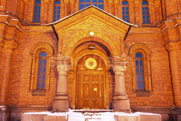 Porte cathédrale Helsinki Finlande ciel bâtiment Photo stock © benkrut