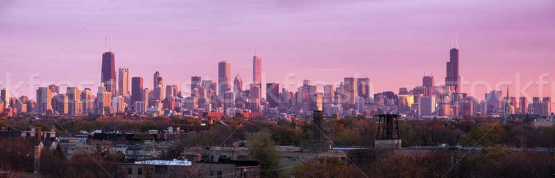 Renkli gün batımı Chicago panoramik görmek Illinois Stok fotoğraf © benkrut