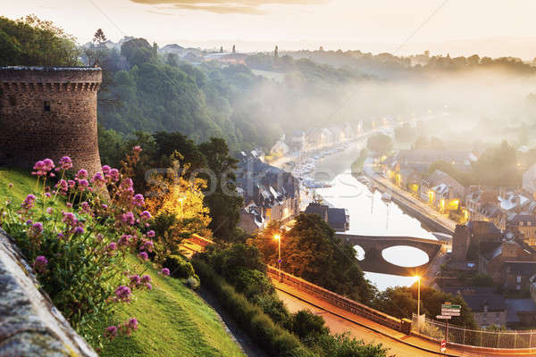 Panorama of Dinan at sunrise Stock photo © benkrut