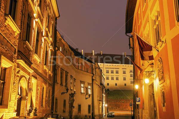 Utca Krakkó éjszaka építészet Európa kapu Stock fotó © benkrut