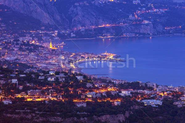 Aerial view of Monaco and Menton Stock photo © benkrut