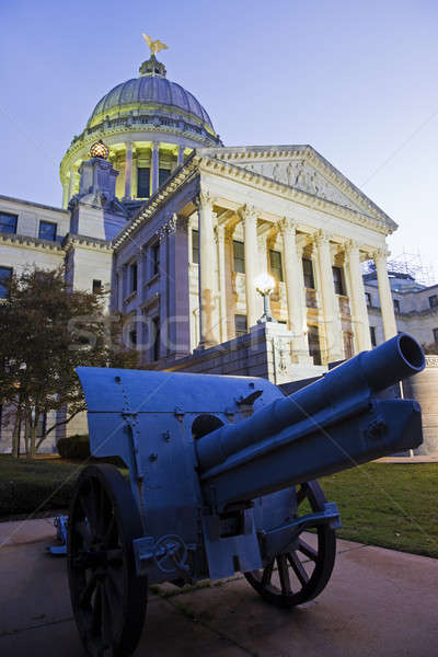 Cannon in front of State Capitol Building in Jackson Stock photo © benkrut