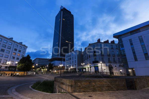 Foto stock: Arquitectura · noche · ciudad · azul · viaje