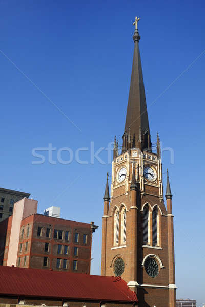 Church with the clock tower Stock photo © benkrut
