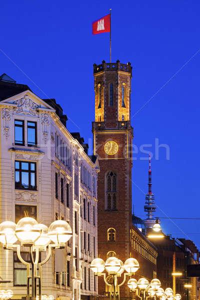 Vieux bureau de poste hambourg Allemagne bleu pavillon Photo stock © benkrut