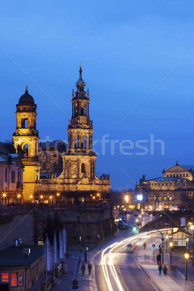 ドレスデン 大聖堂 1泊 教会 日の出 スカイライン ストックフォト © benkrut