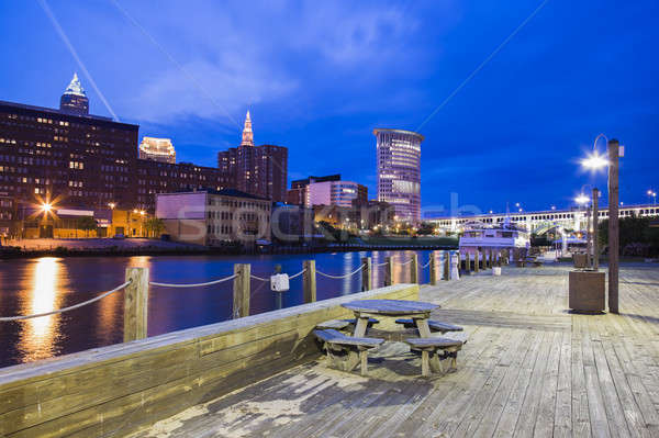 Cleveland panorama at night Stock photo © benkrut